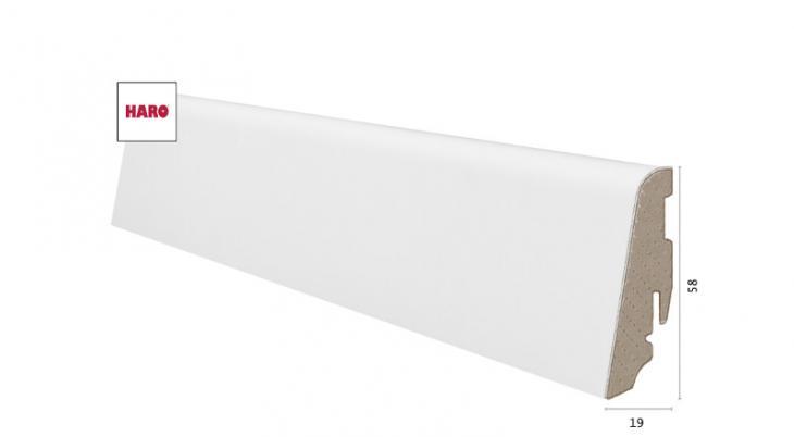Laminuota grindjuostė Haro Balta MDF 19*58 MM