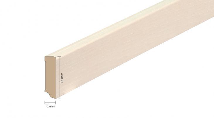 Faneruota medinė grindjuostė Boen Uosis White Live Pure 16*58 MM