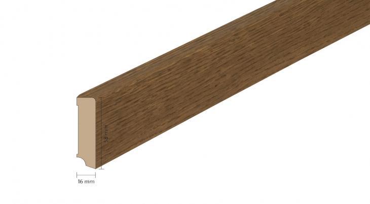 Faneruota medinė grindjuostė Boen Ąžuolas Antique Brown 16*58 MM