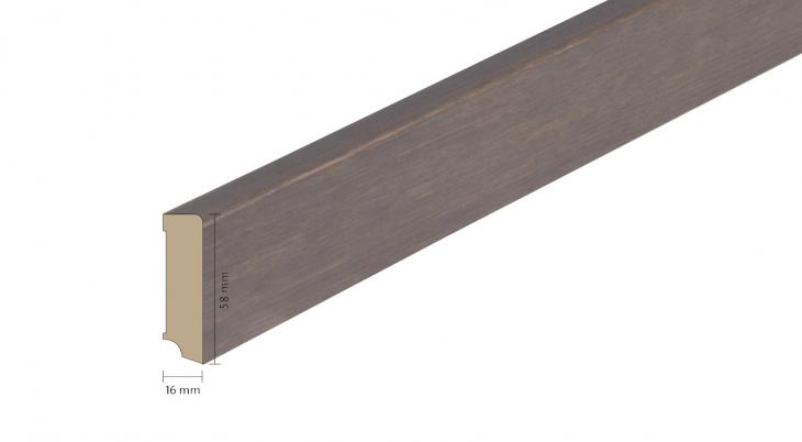 Faneruota medinė grindjuostė Boen Ąžuolas Foggy Brown 16*58 MM