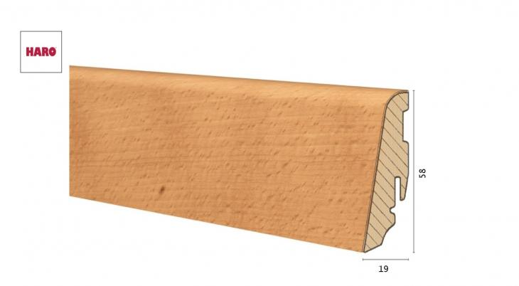 Medinė faneruota grindjuostė Haro Bukas Steamed 19*58 MM