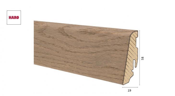 Medinė faneruota grindjuostė Haro Ąžuolas Shell Grey 19*58 MM