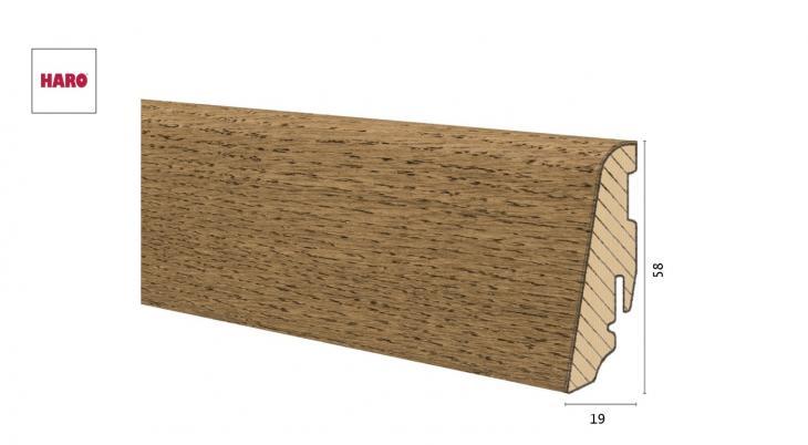 Medinė faneruota grindjuostė Haro Ąžuolas Puro Velvet Brown 19*58 MM