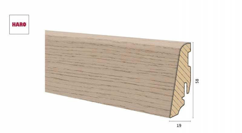Medinė faneruota grindjuostė Haro Ąžuolas Sand Grey Brushed 1958 MM