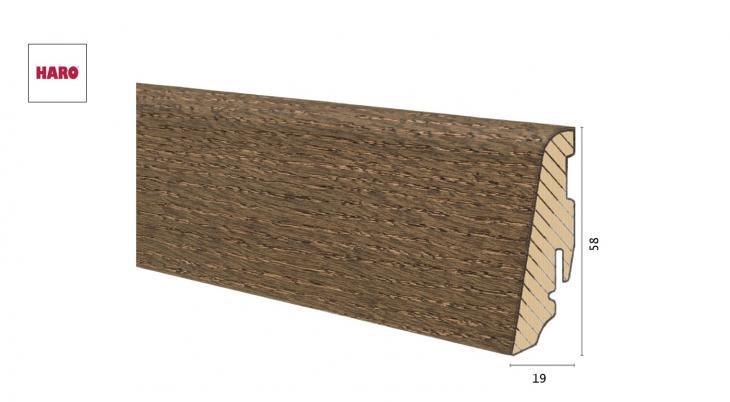 Medinė faneruota grindjuostė Haro Ąžuolas Reed Brown 19*58 MM