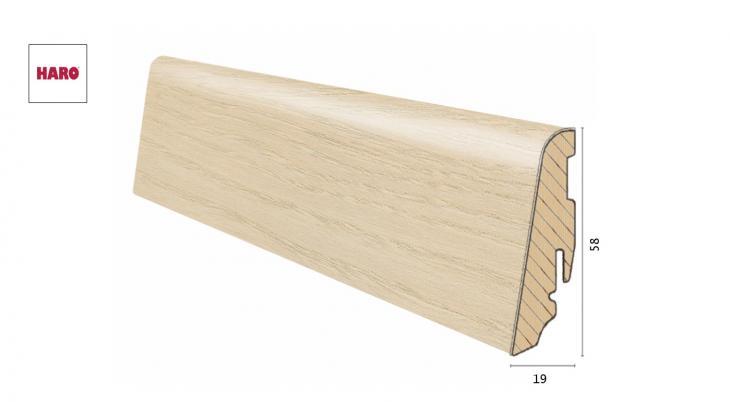 Medinė faneruota grindjuostė Haro Uosis Light White 19*58 MM