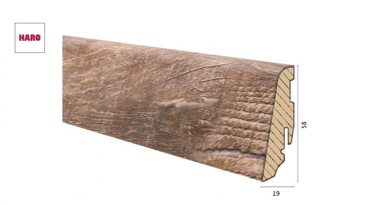 Medinė laminuota grindjuostė Disano by Haro Ąžuolas Antique Smoked 19*58 MM