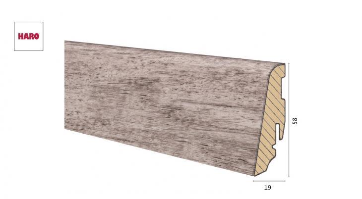 Medinė laminuota grindjuostė Disano by Haro Ąžuolas Country Grey 19*58 MM
