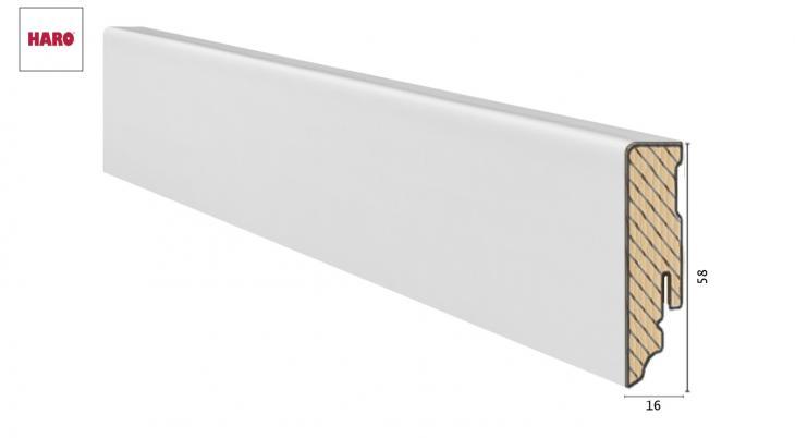 Medinė laminuota grindjuostė Haro Balta RAL 9016 19*58 MM