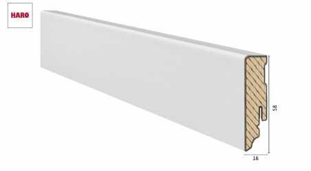 Medinė laminuota grindjuostė Haro Balta Šiurkštinta 19*58 MM