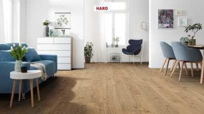 Laminuotos grindys Haro Tritty 100 Ąžuolas Portland Nature su akustiniu SILENT PRO paklotu