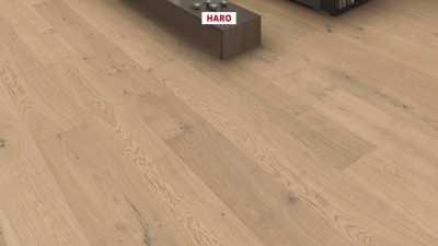 Trisluoksnė parketlentė Haro Plaza Plank Ąžuolas Light White Sauvage 4V