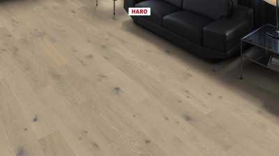 Trisluoksnė parketlentė Haro Plank Ąžuolas Sand Grey Sauvage 2V
