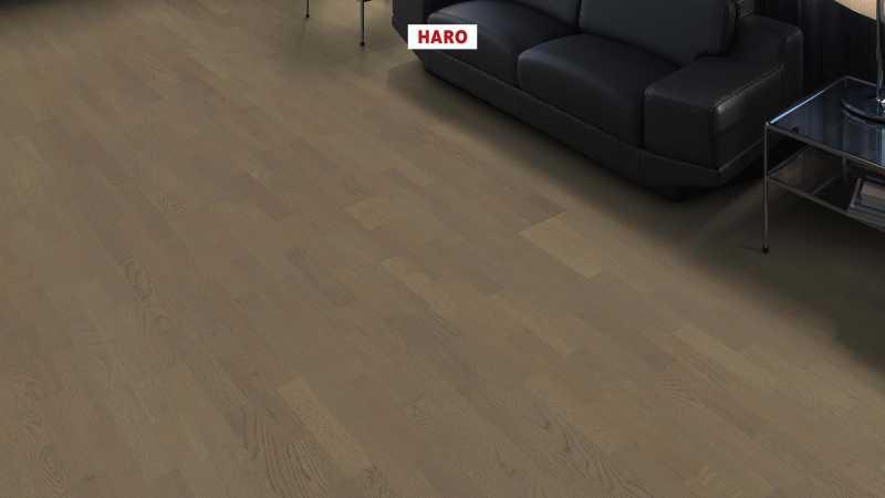 Trisluoksnė parketlentė Haro Longstrip Ąžuolas Graphite Grey Trend