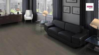 Dvisluoksnis Parketas Haro Allegro Ąžuolas Graphite Grey Trend