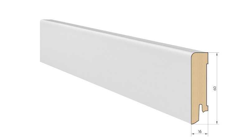 Medinė faneruota grindjuostė Pedross Balta dažyta 16*60 MM