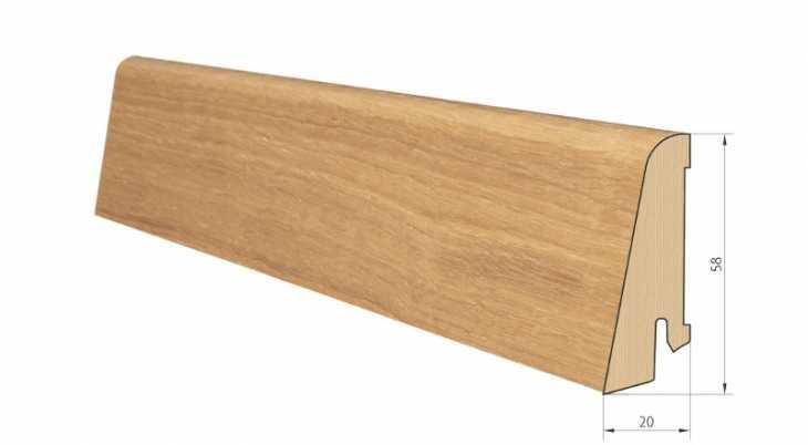 Medinė faneruota grindjuostė Pedross Ąžuolas lakuota 20*58 MM