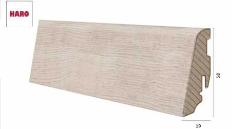 Laminuota grindjuostė Haro Ąžuolas Siena Valvet White 19*58 MM