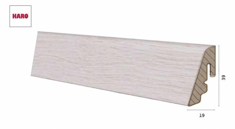 Laminuota grindjuostė Haro Ąžuolas Savona White 19*39 MM