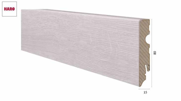 Laminuota grindjuostė Haro Ąžuolas Bergamo Silver Grey 15*80 MM