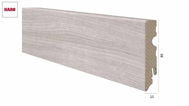 Laminuota grindjuostė Haro Ąžuolas Emilia Light Grey 15*80 MM