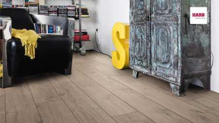 Laminuotos grindys Haro Tritty 100 Ąžuolas Portland Grey su akustiniu SILENT PRO paklotu