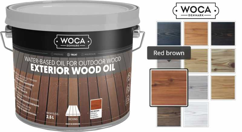 Alyva terasoms Woca Exterior Oil Red brown, 2,5 L nuotrauka