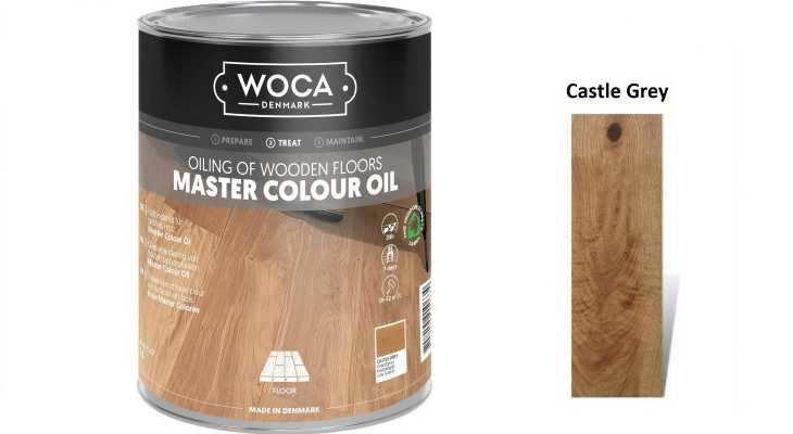 Alyva medinėms grindims Woca Master Colour Oil Castle Grey, 1 L