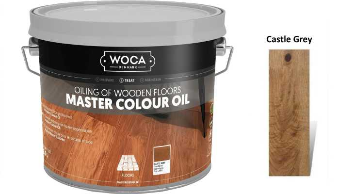 Alyva medinėms grindims Woca Master Colour Oil Castle Grey, 2,5 L