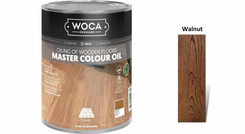 Alyva medinėms grindims Woca Master Colour Oil Walnut, 1 L