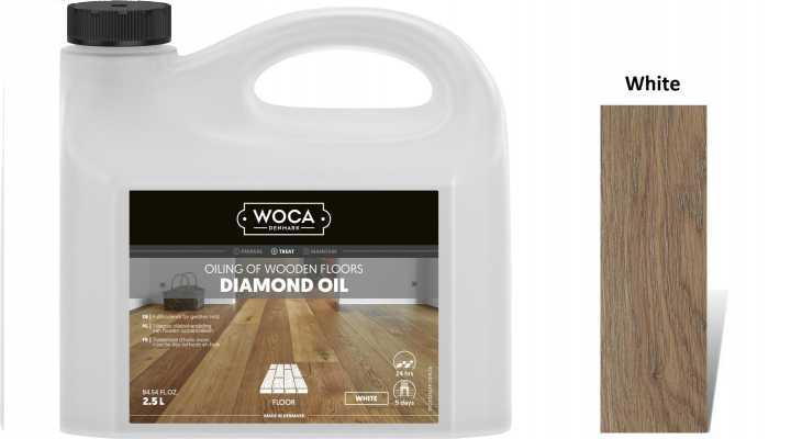 Alyva medinėms grindims Woca Daimond Oil White, 2,5 L