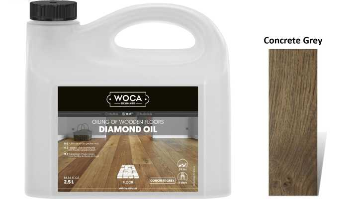 Alyva medinėms grindims Woca Daimond Oil Concrete Grey, 2,5 L