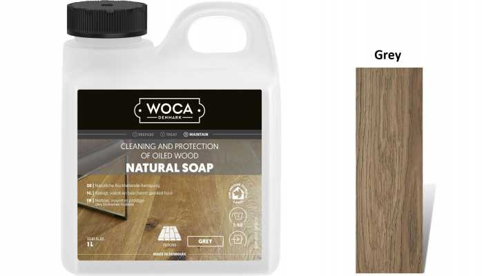 Muilas medinėms grindims Woca Natural Soap Grey, 1 L