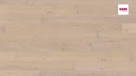 Trisluoksnė parketlentė Haro Plank Ąžuolas Crystal White Sauvage 4V