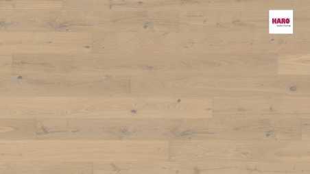 Trisluoksnė parketlentė Haro Plank Ąžuolas Sand White Sauvage 4V