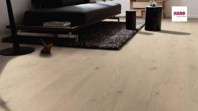 Trisluoksnė parketlentė Haro Plank Ąžuolas Sand Grey Sauvage 4V