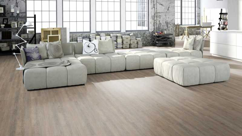 Vinilo danga One Flor ECO 30 PLANKS Ąžuolas Rustic Light Grey 2 MM