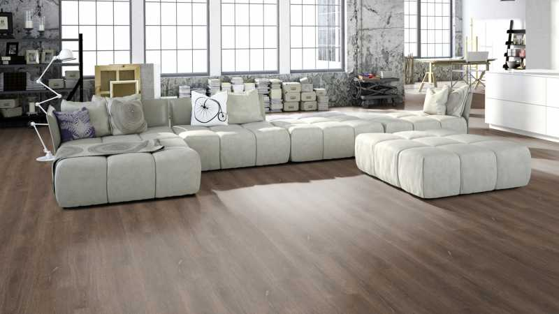 Vinilo danga One Flor ECOCLICK 55 PLANKS Ąžuolas Scarlet Dark Natural 5 MM