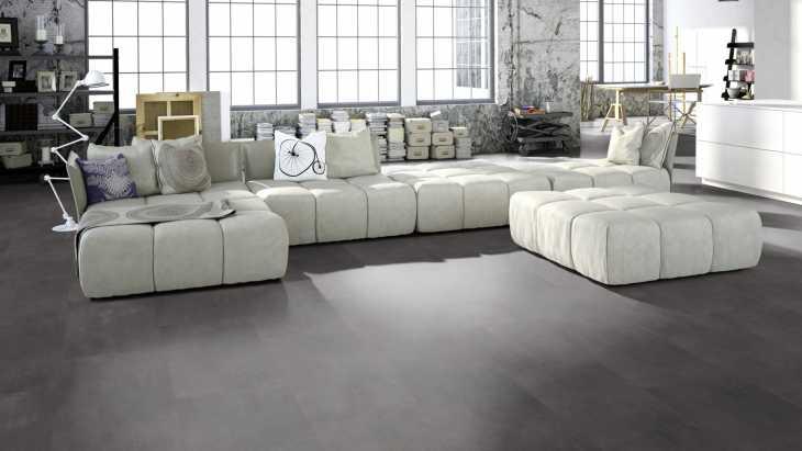 Vinilo danga One Flor ECOCLICK 55 TILES XL Cement Dark Grey 5 MM