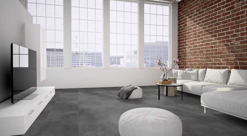 Vinilo danga One Flor SOLIDE CLICK 55 TILES Cement Dark Grey 6 MM