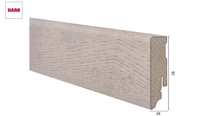 Laminuota grindjuostė Haro Ąžuolas Bergamo Antique White 16*58 MM