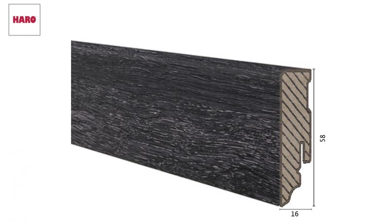 Laminuota grindjuostė Haro Ąžuolas Contura Black 16*58 MM