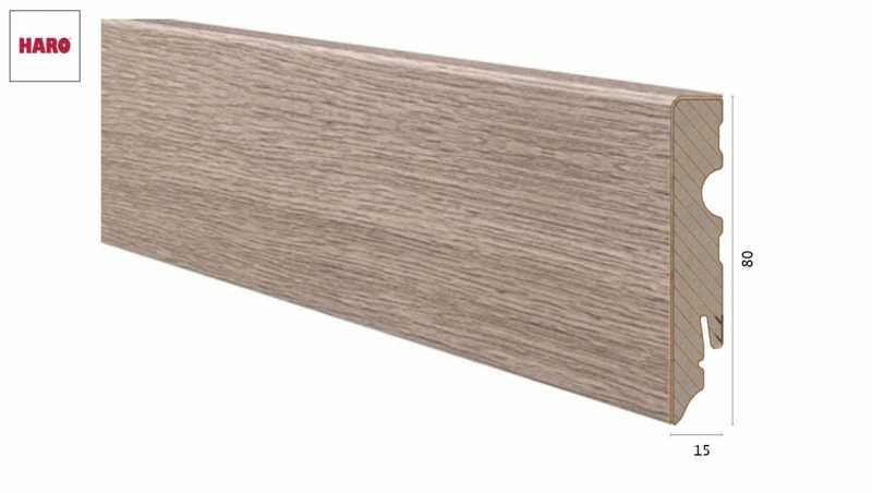 Medinė laminuota grindjuostė Haro Ąžuolas Contura Stone Grey 15*80 MM