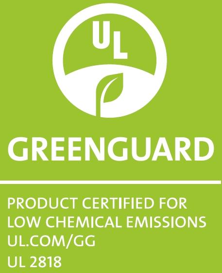 Greenguard sertifikatas suteikiamas itin mažos emisijos gaminiams, kurių dėka galima išlaikyti patalpų orą švarų bei nekenksmingą.