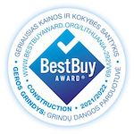 Best Buy sertifikatas patvirtinta, jog Geros Grindys suteikia geriausią kainos kokybės santykį rinkoje